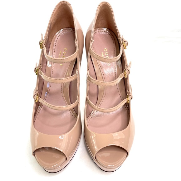 Gucci Beige Patent Lth Lisbeth Peep Toe Slingback Platform